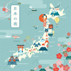 Elegant japan travel map
