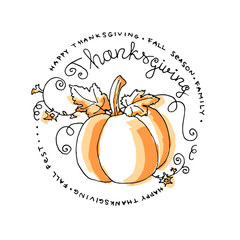 Hand drawn Thanksgiving pumpkin with text in circle