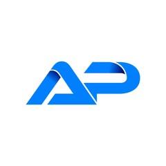 ap logo initial logo vector modern blue fold style