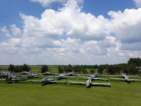 Old military airplanes graveyard