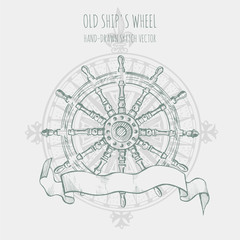 Old ship's wheel steering. Hand drawn vector sketch.