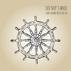 Old ship's wheel steering. Hand drawn vector sketch.