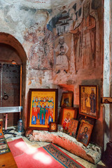 Interior and frescoes mural in Nikortsminda Cathedral in Racha, Georgia
