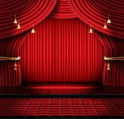 Red Stage Curtain with Seats and Copy Space.