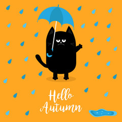 Hello autumn. Black cat holding blue umbrella. Rain drops, puddle. Angry sad emotion. Hate fall. Cute funny cartoon baby character. Pet animal collection. Orange background. Isolated.