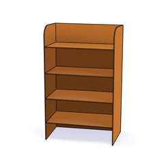 Empty wooden cabinet with shelves. Simple office cupboard. Vector illustration.