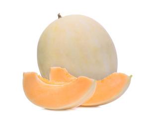 honeydew melon(sunlady) with slice isolated on white background