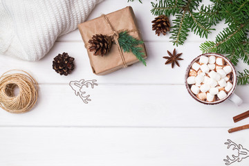 Winter season accessories: hot cocoa, fir branches and knitted sweater