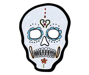 Totenkopf – mexikanisches Totenfest / Kreidezeichnung, Vektor, freigestellt