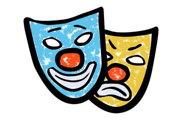 Zwei Theater-Masken mit roten Karnevals-Nasen / Kreidezeichnung, Vektor, freigestellt