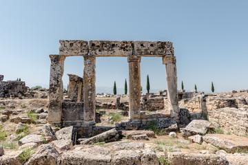 Ancient ruins in Hierapolis, Pamukkale, Turkey. UNESCO World Heritage..