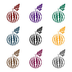 Fototapete - Watermelon icon in black style isolated on white background. Plant symbol stock vector illustration.