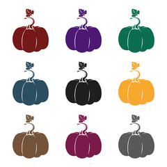 Fototapete - Pumpkin icon in black style isolated on white background. Plant symbol stock vector illustration.