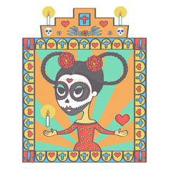 Cute sugar skull woman in Mexican Halloween style with frame of religious ornaments, colorful vector drawing