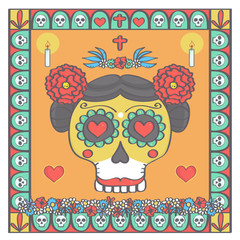 Sugar skull female head framed with religious ornaments and flowers in Mexican Halloween style, colorful vector illustration