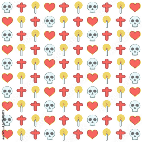 70844cde4ac Colorful vector background pattern in Mexican Halloween style with ...