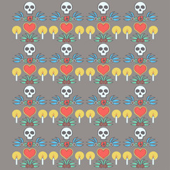 Colorful pattern in Mexican Halloween style with ornaments and flowers, vector illustration on dark background