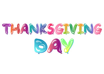 happy Thanksgiving day banner with ballons