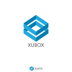 simple dual blue box logo concept. double shape. Logo Template with flat style for software, apps, product, services brand.