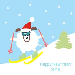 Dog skiing in the mountains. Symbol of the year 2018. Happy New Year and Merry Christmas! Greeting card. Vector illustration.