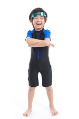 Asian child in swimsuit on white background isolated