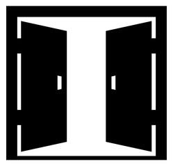 double doors open