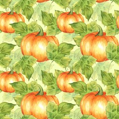 Orange pumpkins. Seamless pattern 8. Watercolor illustration