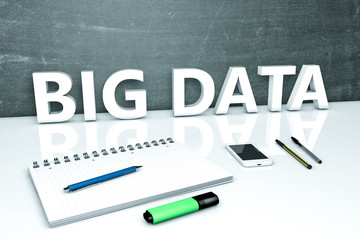 Big Data - text concept with chalkboard, notebook, pens and mobile phone. 3D render illustration.
