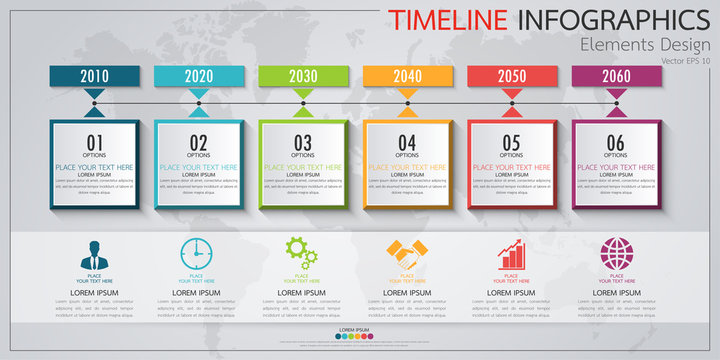 Infographic business horizontal timeline process chart template. Vector modern banner used for presentation and workflow layout diagram, web design. Abstract elements of graph options.