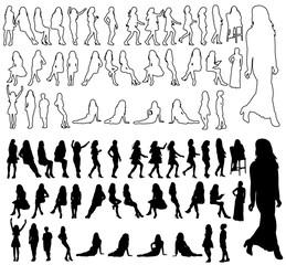 set of silhouette girls, sketch