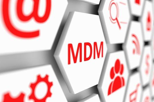 MDM concept cell blurred background 3d illustration