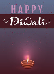 Happy Diwali Indian Festival of Lights. Lettering text template greeting card