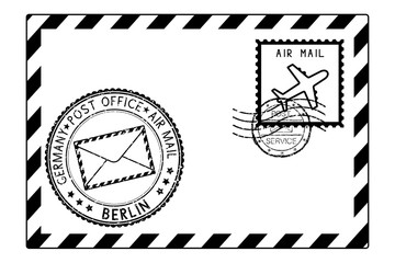 Envelope black icon with postmarks. BERLIN, Germany
