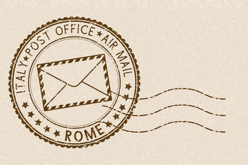 Postal stamp, round brown postmark with envelope icon. ROME, Italy
