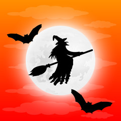Silhouette of a terrible witch on a broomstick with bats.