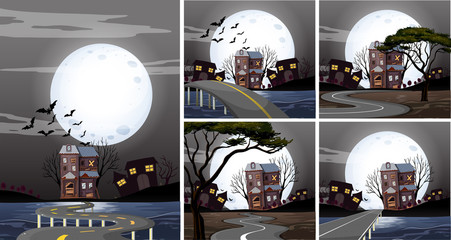 Five scenes of haunted houses at night