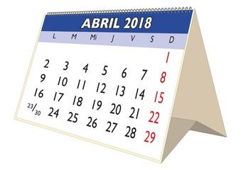 August 2018 desk calendar in spanish Agosto 2018