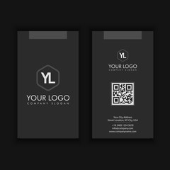 vertical  Modern Creative and Clean Business Card Template with dark color