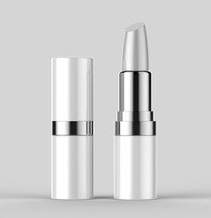 Blank white lipstick 3d template for mock up design. 3d illustration.