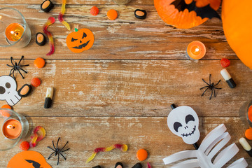 halloween decorations with space on wooden boards