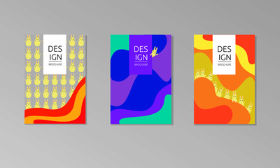 Set of 3 flat vector poster and templates.