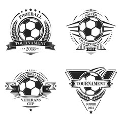 Set of sport vector logotypes or emblems in retro style. Soccer Championship. Football Tournament. Veterans Cup.