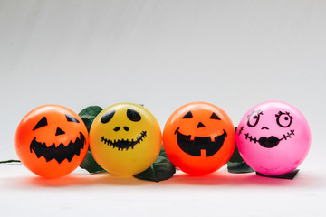 Self Made hand drown Smiley face Halloween Spooky balls  with white background - copy space template for your wording