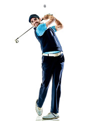 one caucasian man golfer golfing in studio isolated on white background