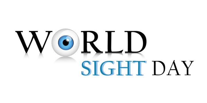 world sight day schriftzug mit blauem auge