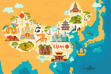 China abstract map, hand drawn vector illustration. Travel illustration of China with landmarks icons, temple, dragon, Shaolin monk, lanterns, pandas and rice fields