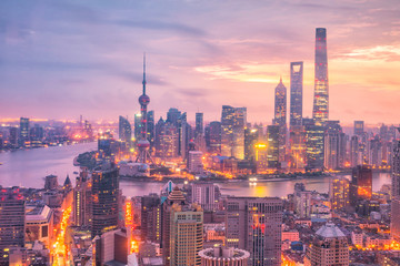 Aluminium Prints Asian Famous Place View of downtown Shanghai skyline at twilight