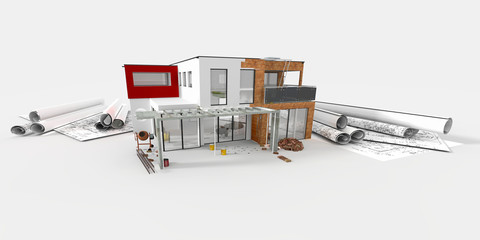 Maquette d'une belle maison d'architecte en construction
