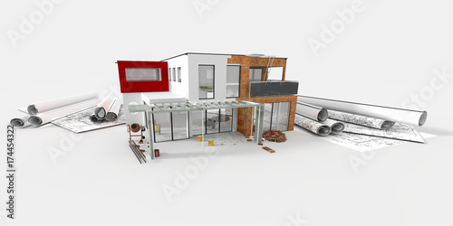 """Maquette D'Une Belle Maison D'Architecte En Construction"""" Stock"""