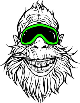 smiling Yeti in ski goggles.